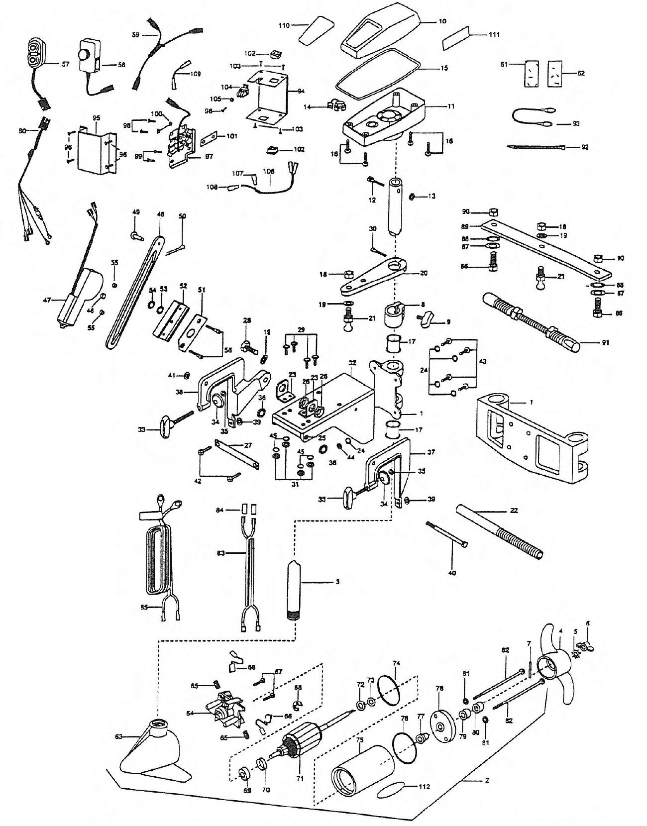 minn kota 1998 electric primary ep96 parts