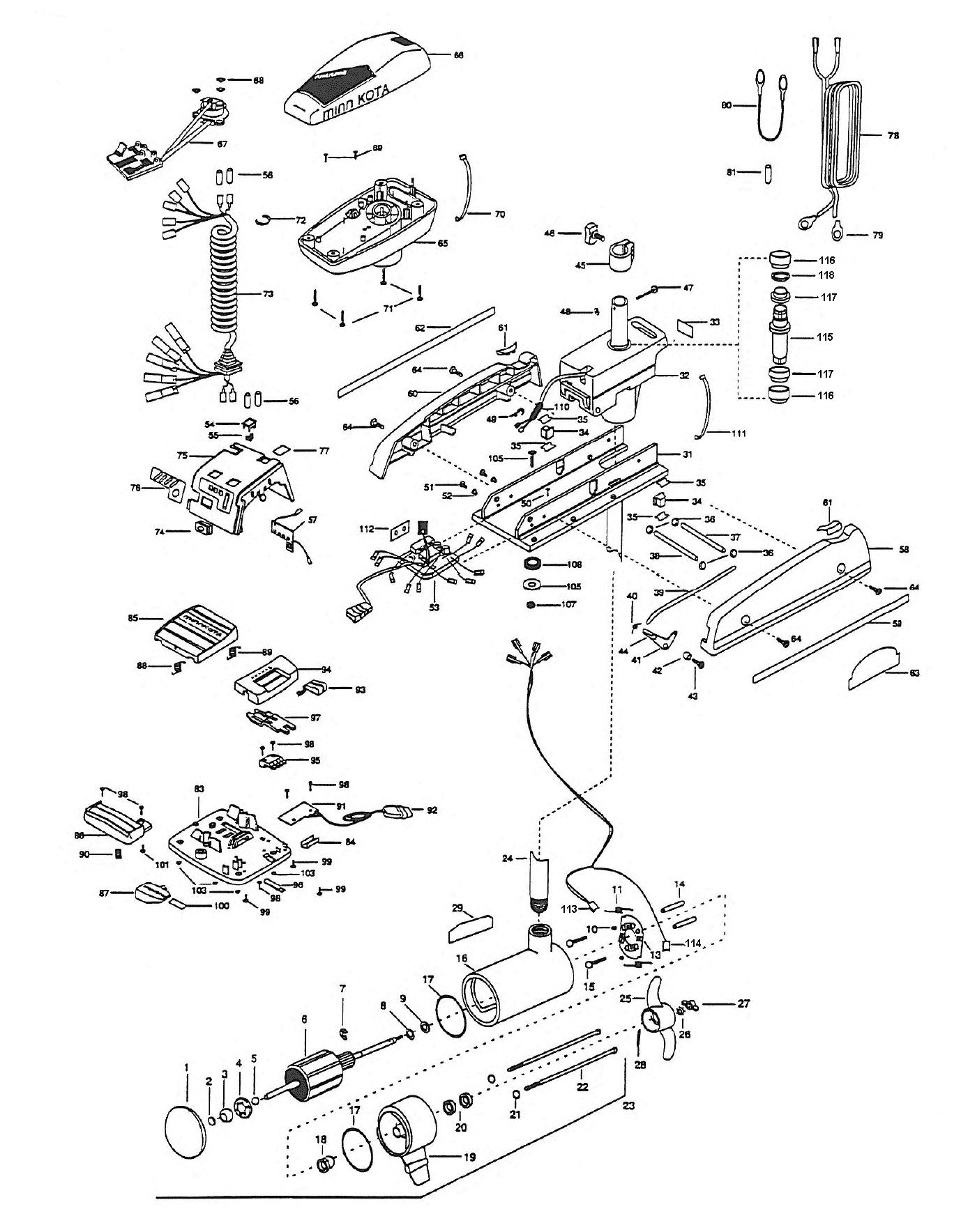 minn kota deckhand 40 wiring diagram minn kota auto pilot wiring diagram minn kota auto pilot 64 parts - 1999 from fish307.com