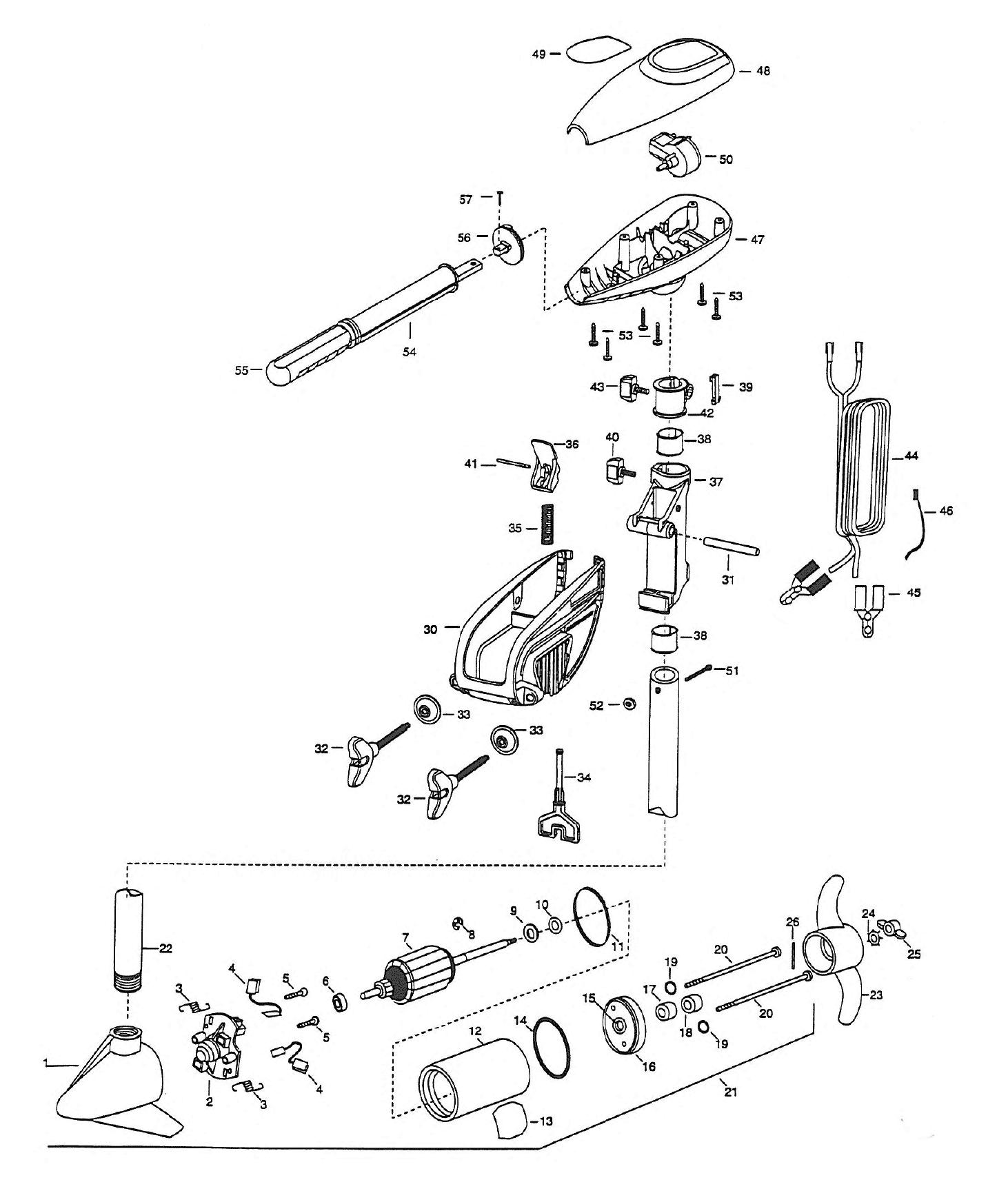 minn kota trolling motor diagram minn kota endura 46 parts - 1999 from fish307.com