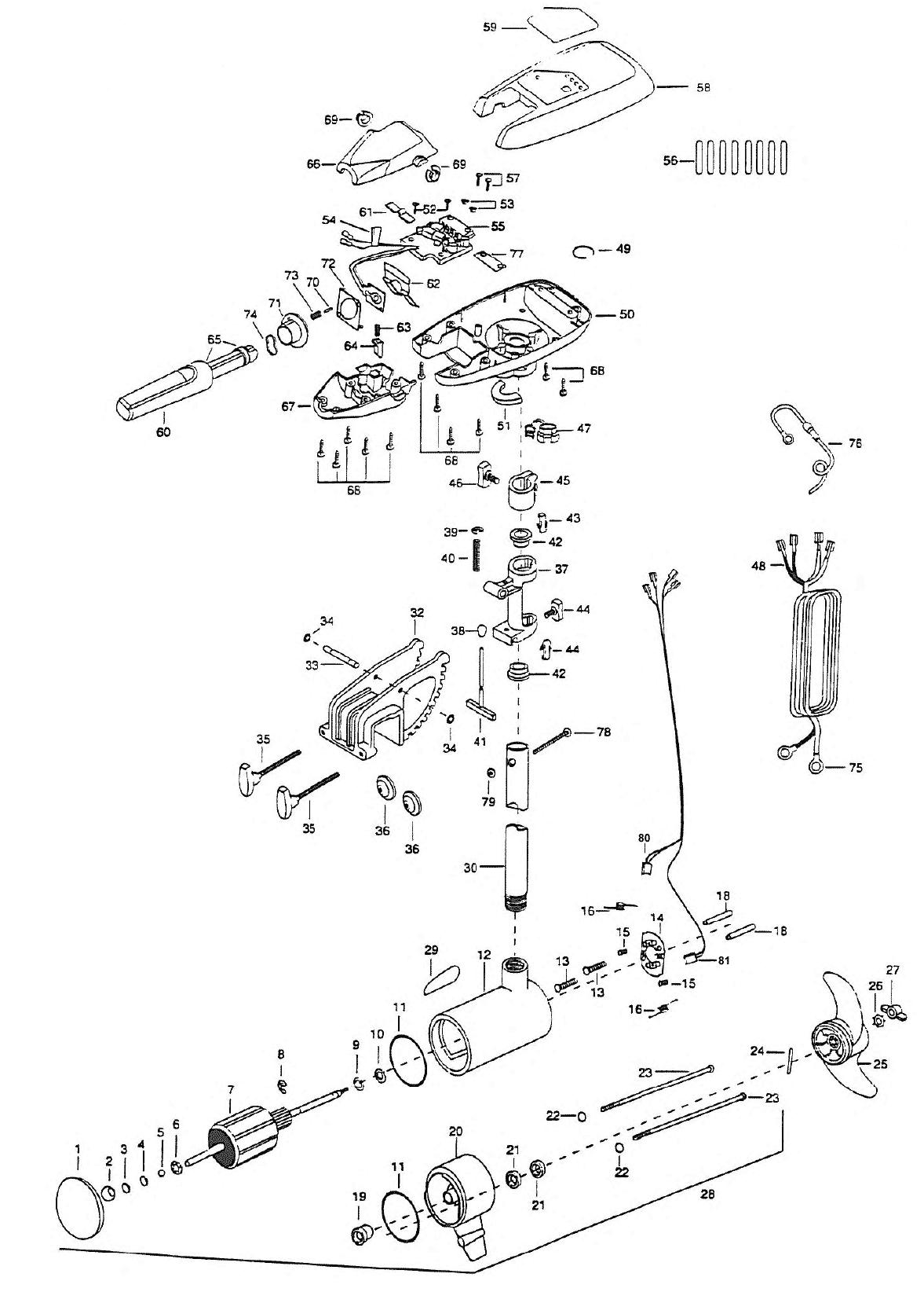 minn kota riptide 55s  42 inch  parts