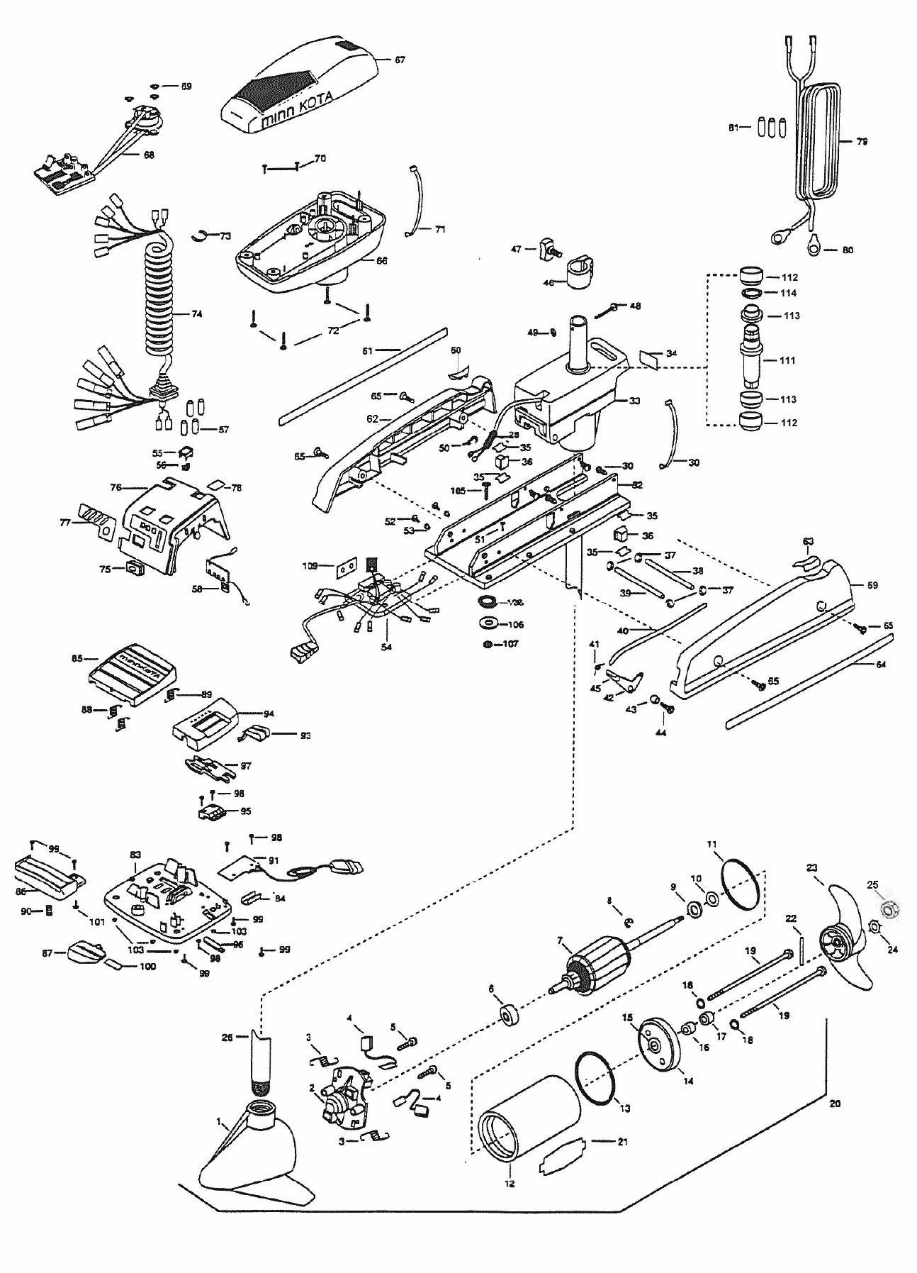 minn kota auto pilot 55 (54 inch) parts - 2000 from fish307.com minn kota maxxum 24v wiring diagram