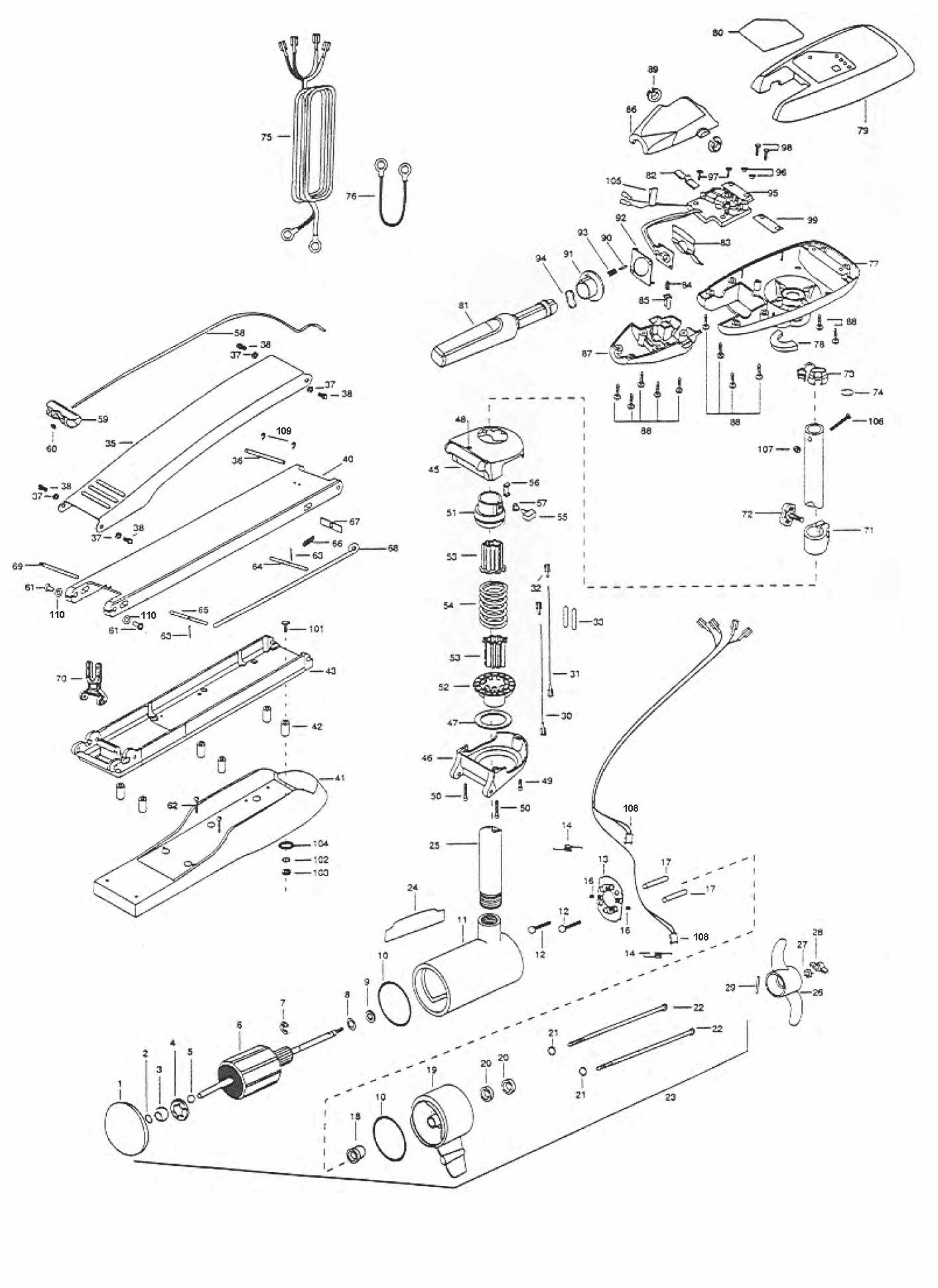 Minn Kota Maxxum 74 Hand Control 52 Inch Parts 2000 From 24v Wiring Diagram Ttttttt