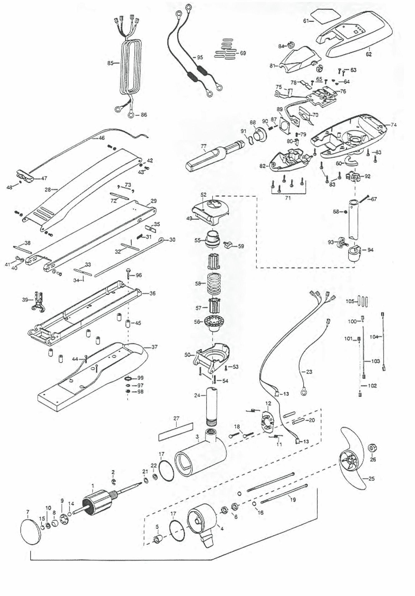 Minn kota riptide 101 bowguard 52 inch parts 2000 from for Riptide 101 trolling motor