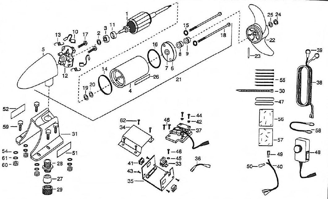 minn kota engine mount - em44 and em54 parts