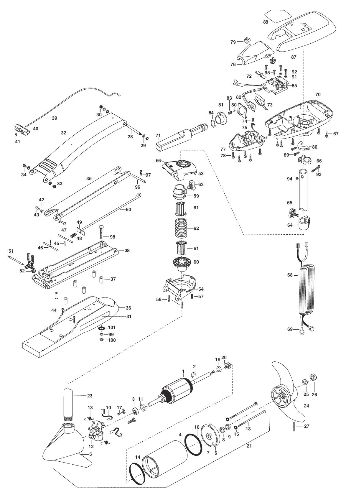 minn kota maxxum 55 hand control parts