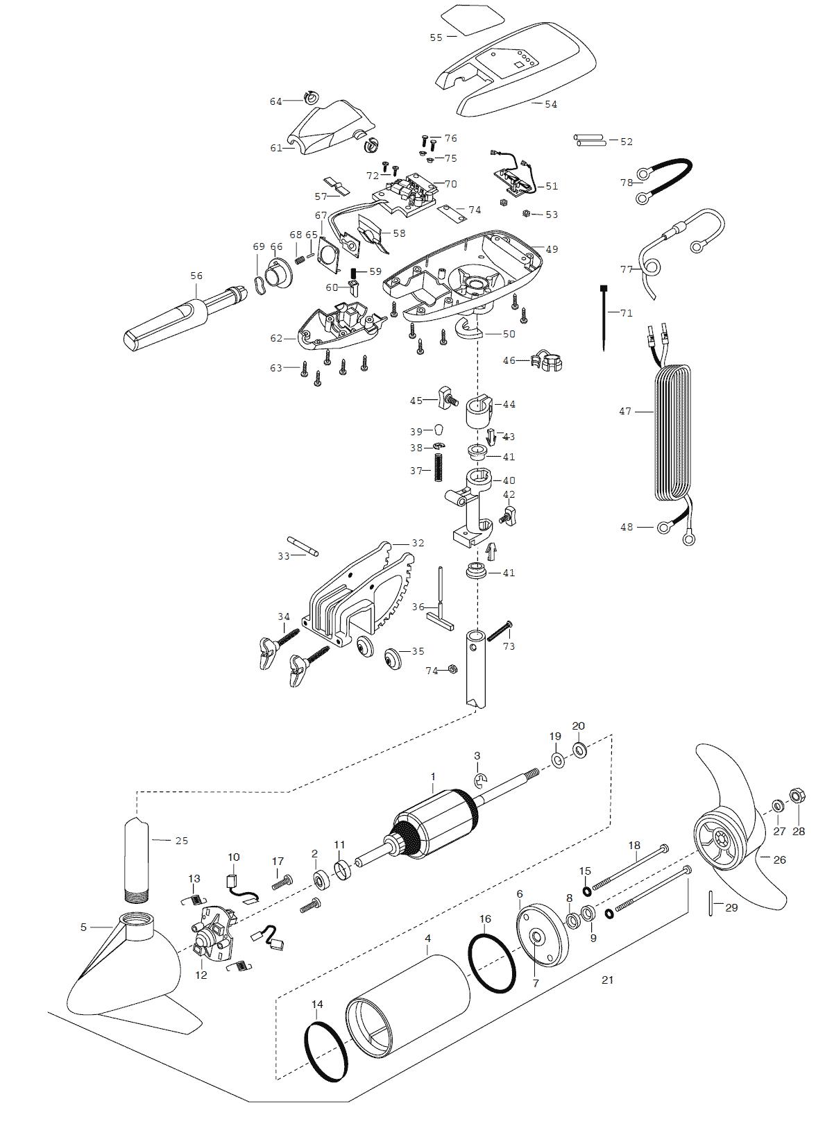 minn kota maxxum 65t  u0026 65bt  36 inch  parts