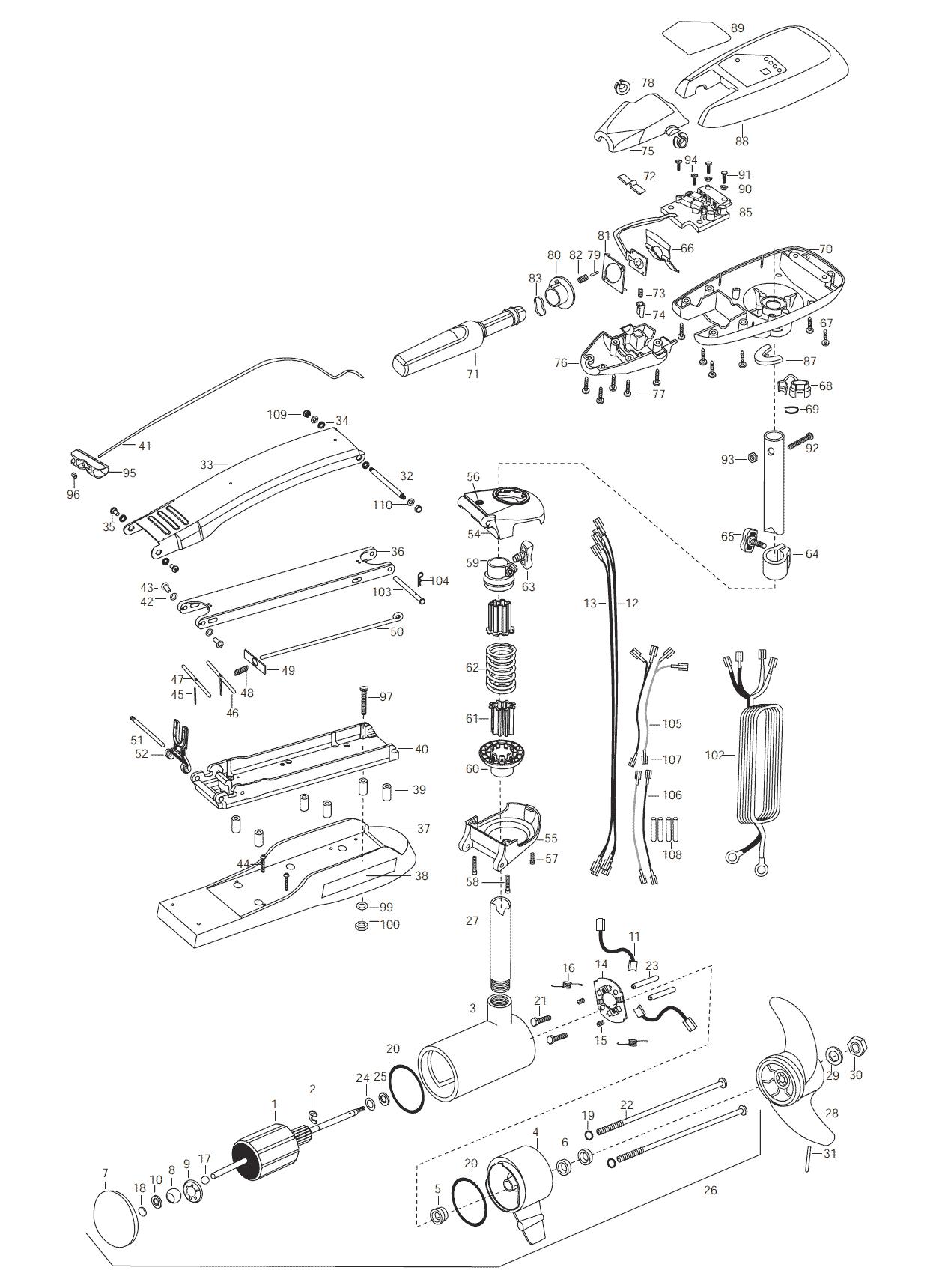 minn kota maxxum 74 hand control  52 inch  parts