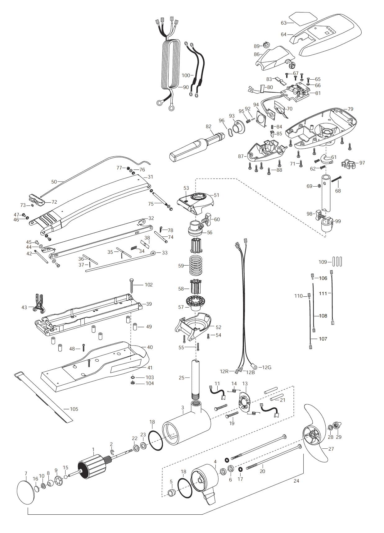 Minn Kota Riptide 101  62 Inch  Parts