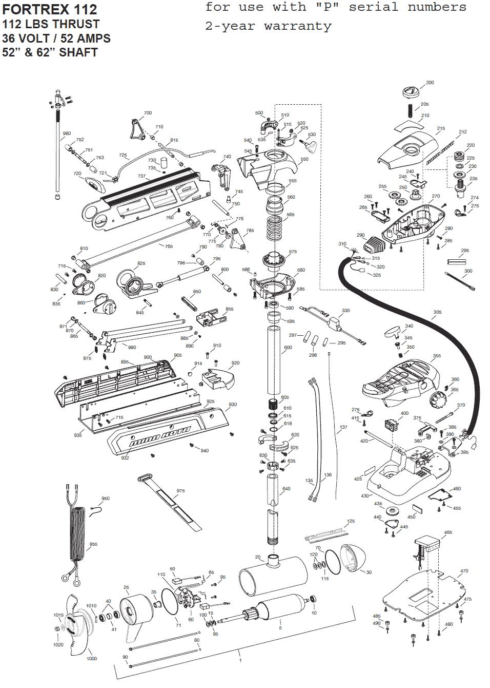 minn kota fortrex 112  52 and 62 inch  parts