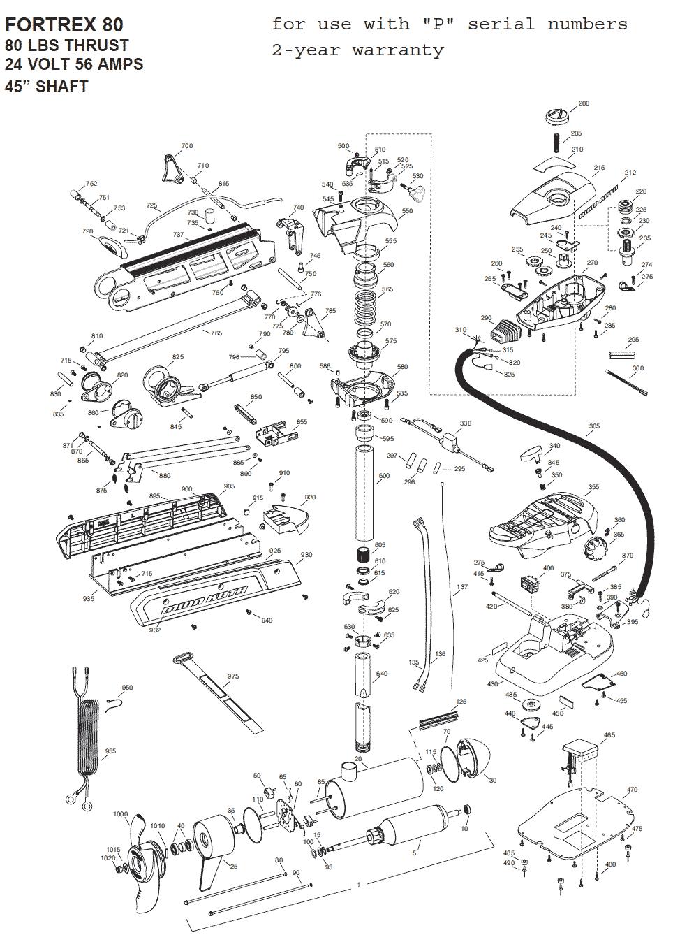Minn Kota Fortrex 80 45 inch Parts 2015 from FISH307com