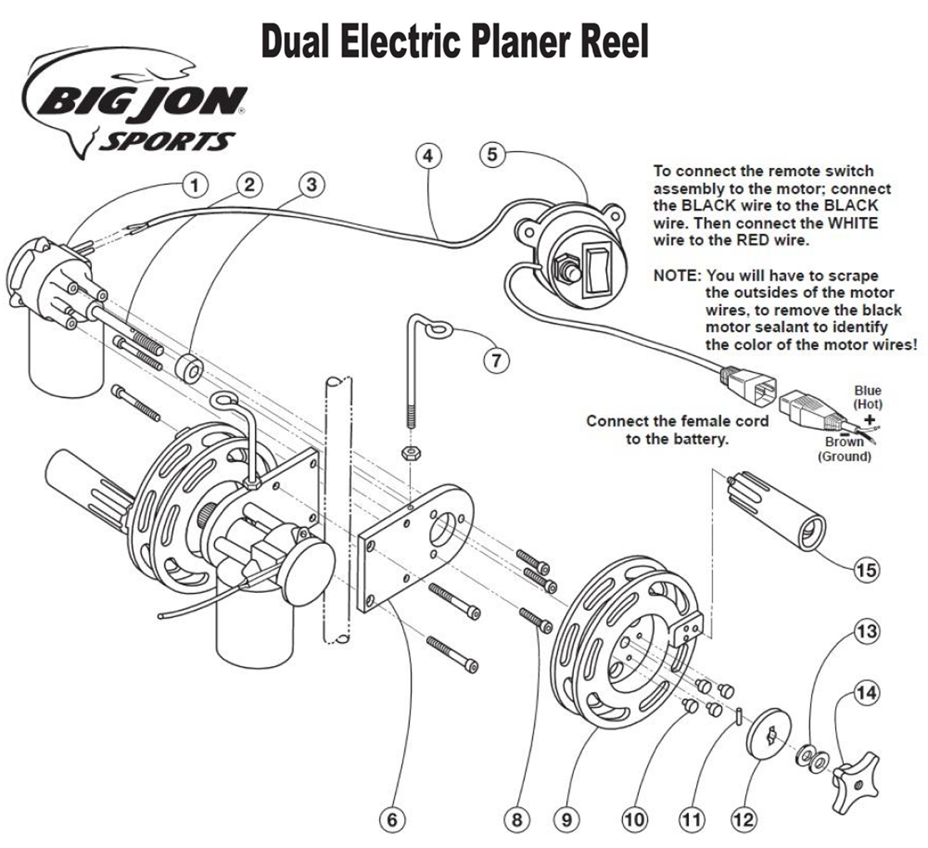 order big jon dual electric planer reel parts online from