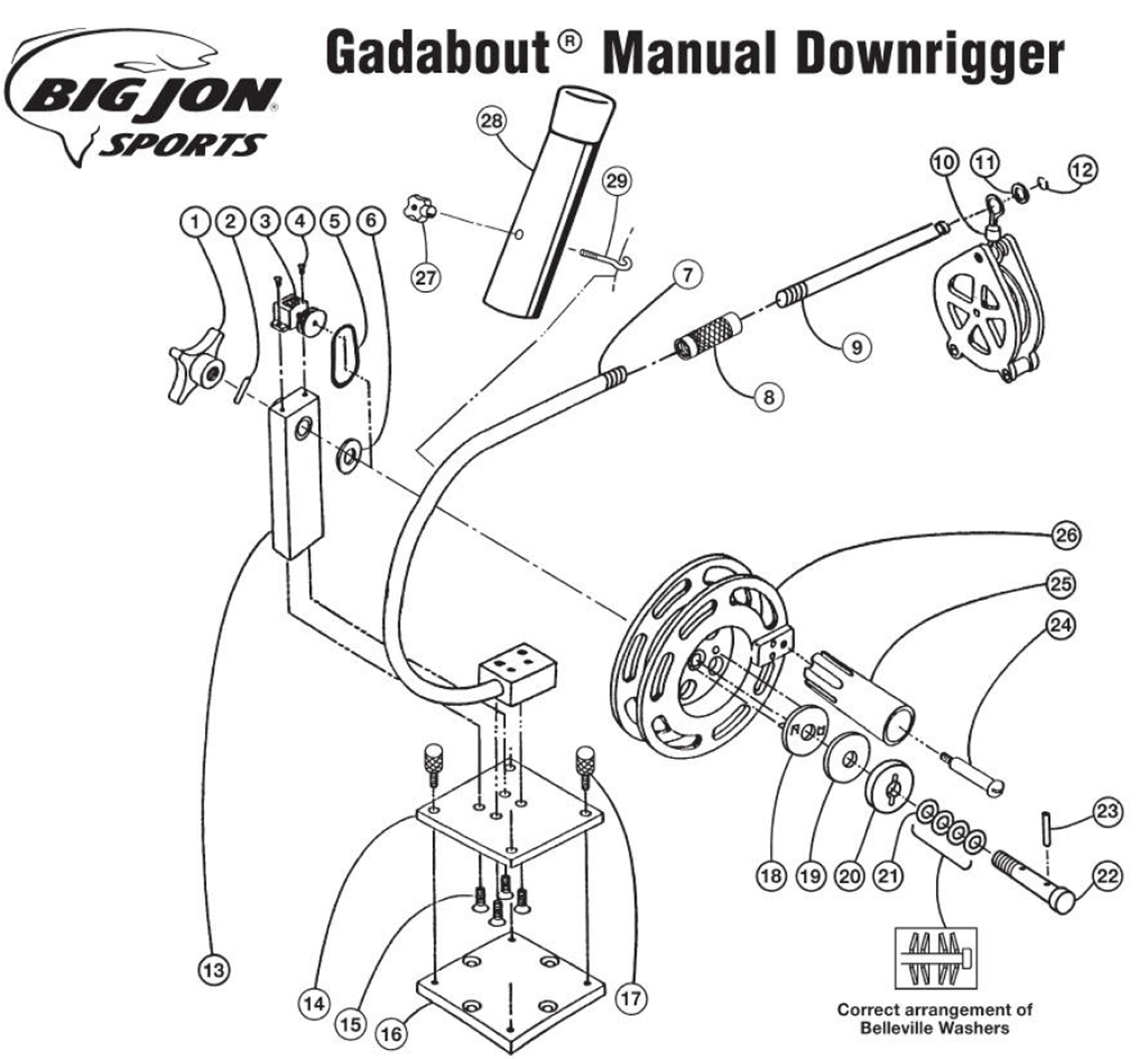 order big jon gadabout manual downrigger parts online from