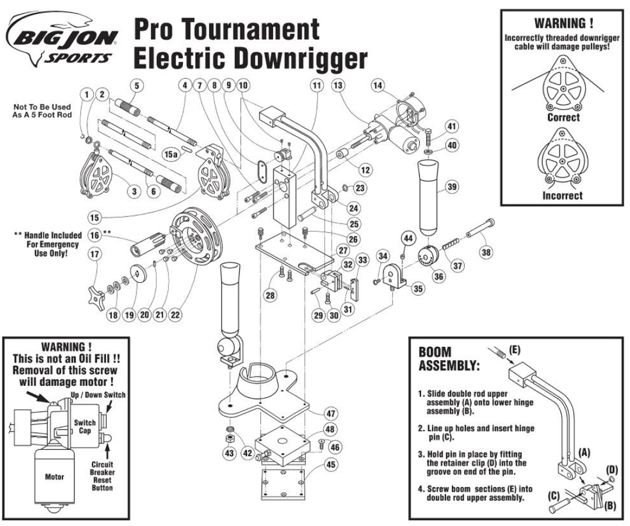 Big_Jon_Pro_Tournament big jon replacement parts pro tournament electric downrigger scotty downrigger wiring diagram at metegol.co