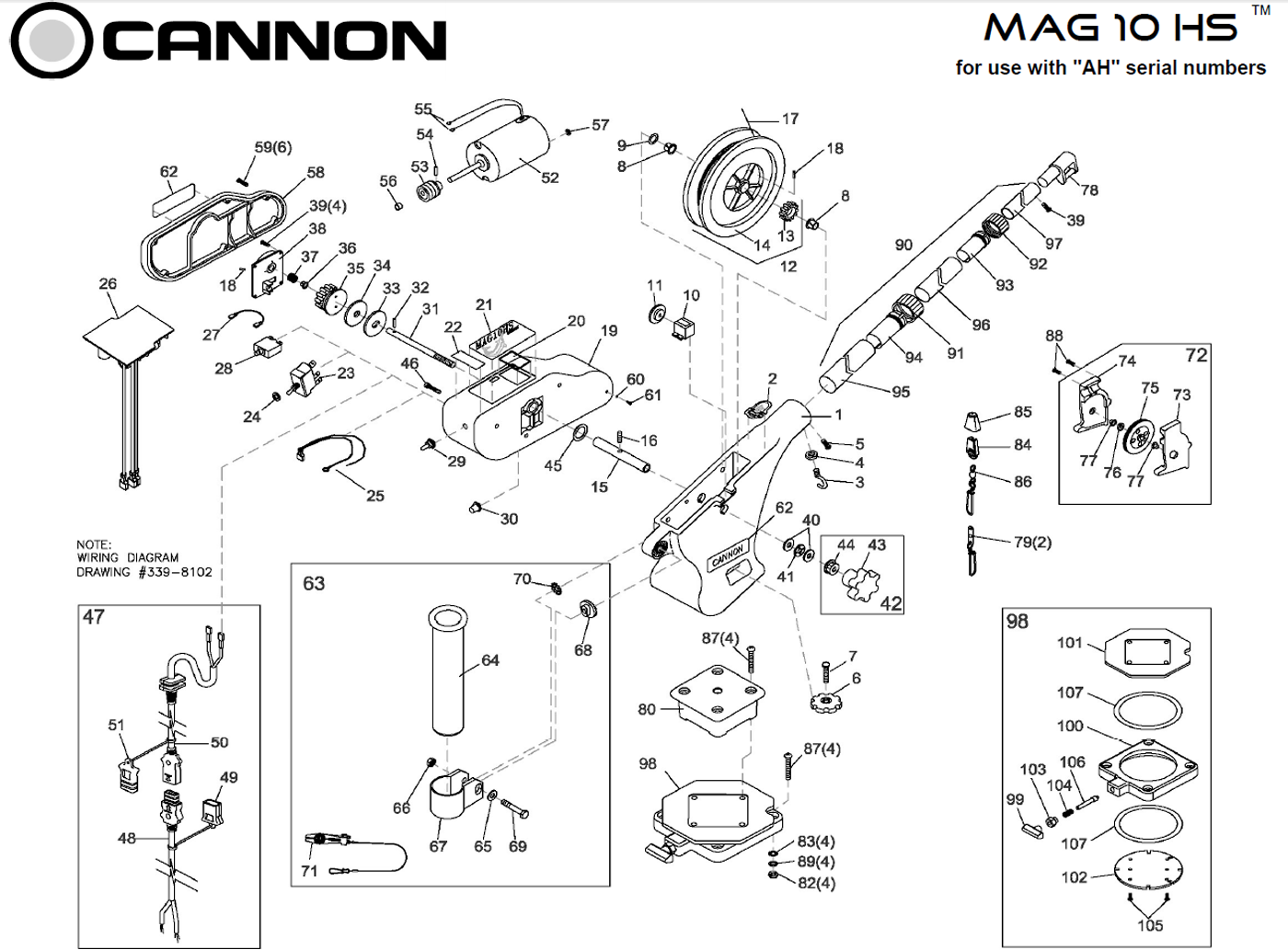order cannon mag 10 hs  mag 15  electric downrigger parts