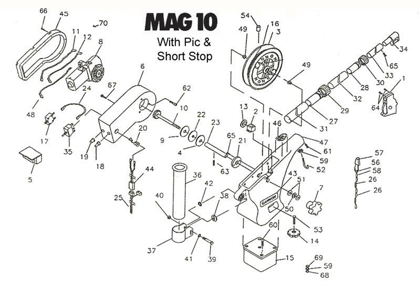 order cannon mag 10  pre 2006 models  electric downrigger parts from fish307 com