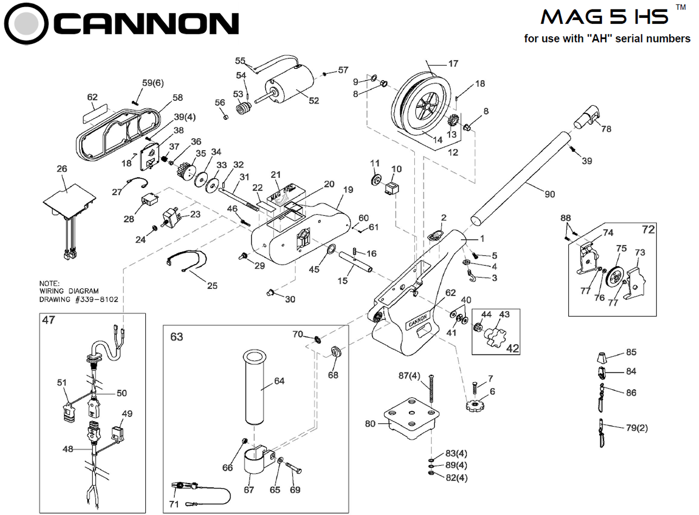 Order Cannon Mag 5 HS electric downrigger parts from FISH307.com on cannon plug wiring, cannon downriggers electrical cords, cannon electric downriggers,
