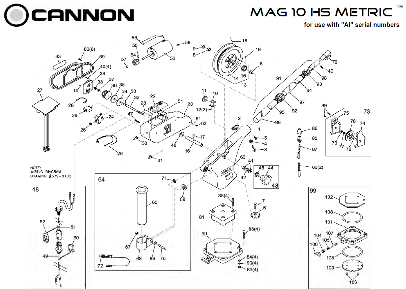 order cannon metric mag 10 hs electric downrigger parts