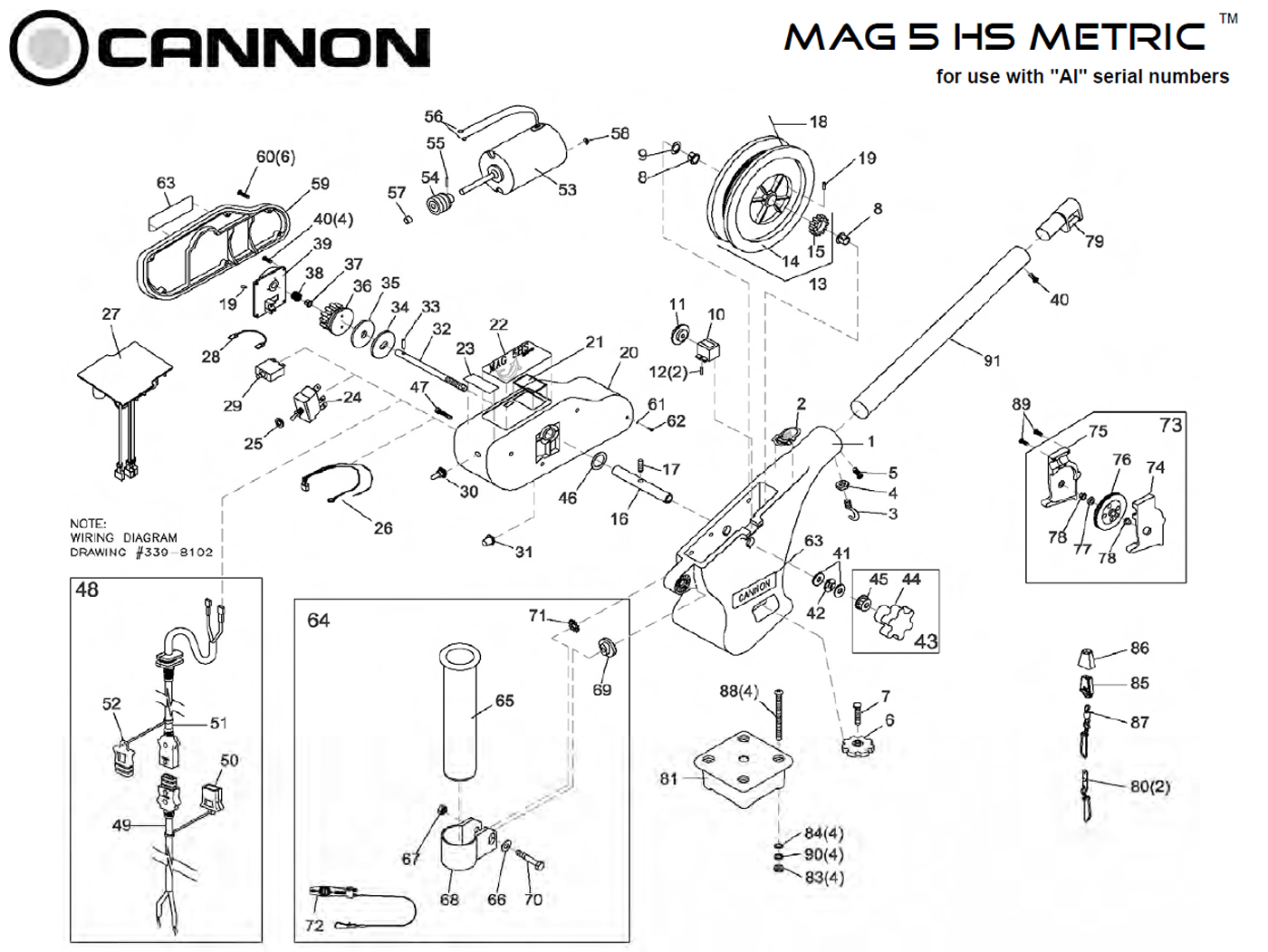 order cannon metric mag 5 hs electric downrigger parts from fish307 com