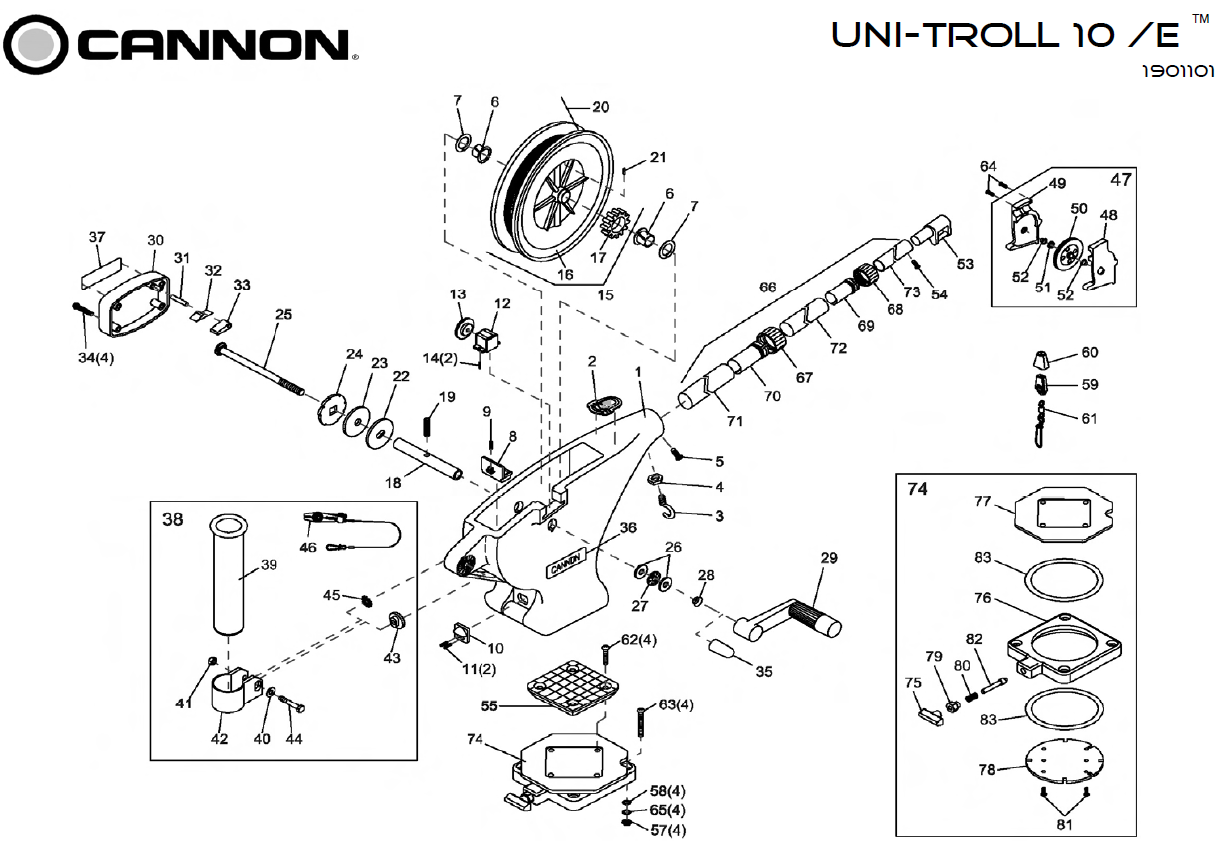 Cannon Downrigger Parts : Order cannon metric uni troll parts online at fish