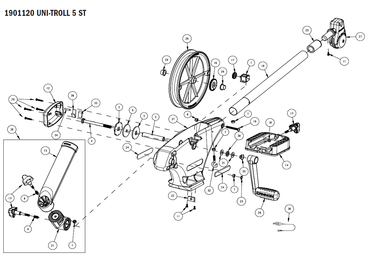 Cannon Downrigger Parts : Order cannon uni troll st downrigger parts online from